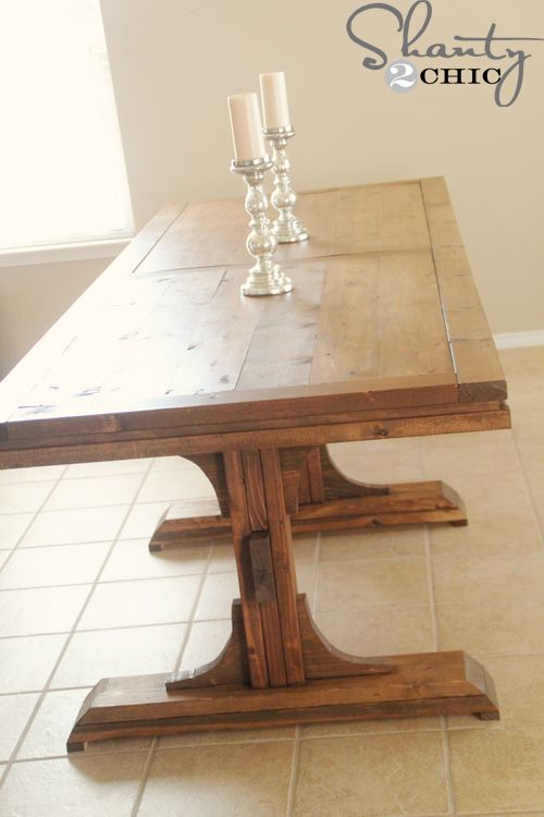 Ana White | Build a Triple Pedestal Farmhouse Table | Free ...