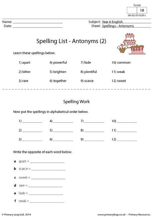 spelling list antonyms 2 worksheet 4th grade language arts spelling. Black Bedroom Furniture Sets. Home Design Ideas