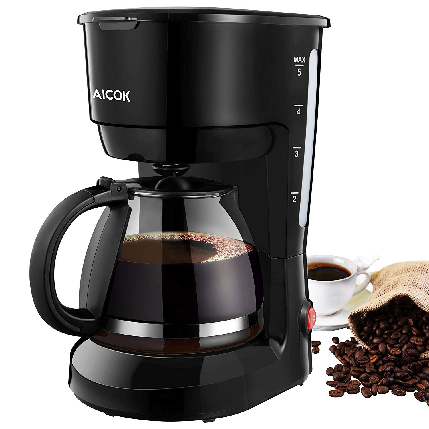 Coffee maker aicok 5cup black instant coffee pot maker