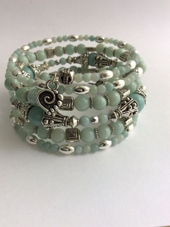 MEMORY WIRE BRACELET,  Wrap Bracelet, Coil Bracelet, Amazonite, Czech Glass, Silver Spacer Beads