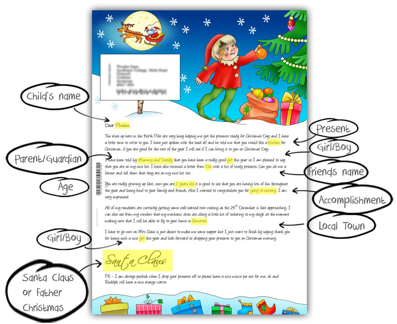The Santa Letter Has Personalisation Such As ChildS Name Parent