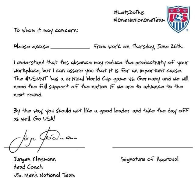 Usa MenS Soccer Excuse Letter For Missing Work To Watch The Game