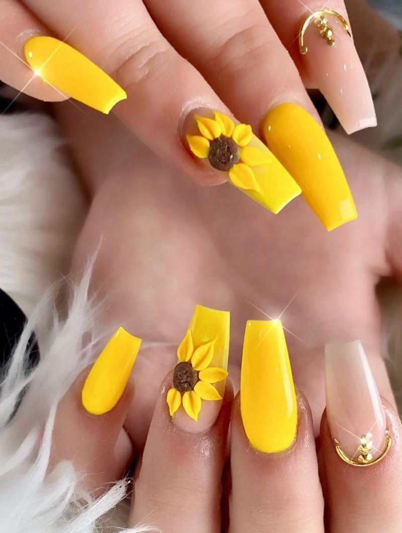 51 Bright Sunflower Nail Art Designs To Inspire You Sunflower Nails Sunflower Nail Art Yellow Nail Art