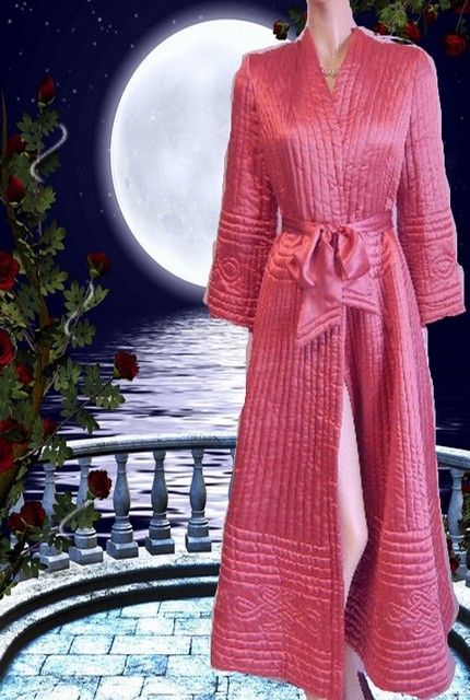 e604d271bd VINTAGE TRAPUNTO SATIN GRAND SWEEP QUILTED DRESSING GOWN ROBE IN RASPBERRY  TRUFFLE