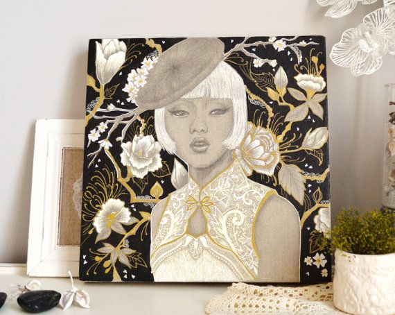 toile originale mes tites lilis portrait de femme par mestiteslilis illustratrions. Black Bedroom Furniture Sets. Home Design Ideas