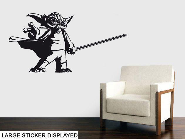 Yoda Silhouette ( Jedi Star Wars Vader ) Wall Art Stickers, Easy Peel, No Mess