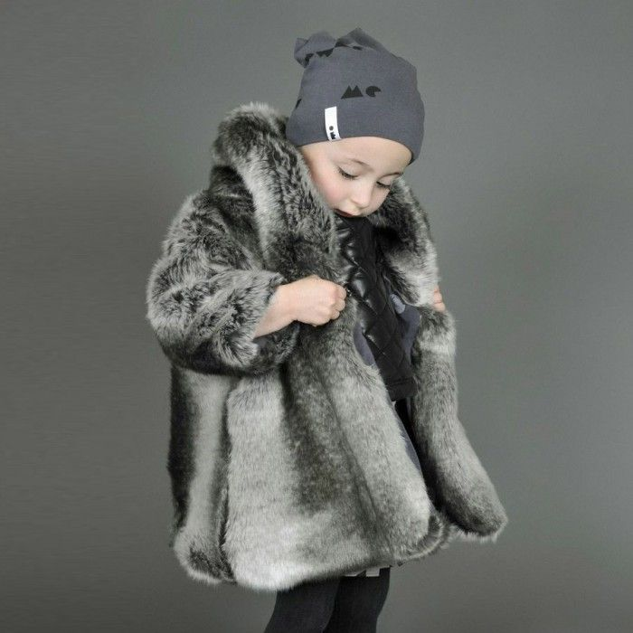 Toddler Girls Faux Fur Coat in Silver by Omamimini | Estella | Fur ...
