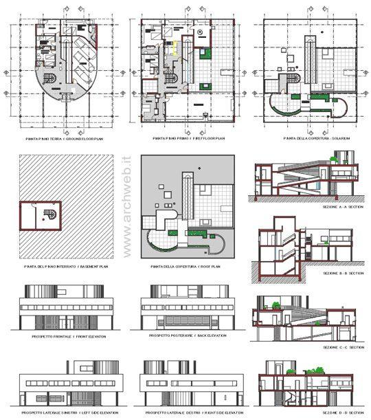 Villa savoye 2d villa savoye dwg 02 heu typ for Progetto casa autocad