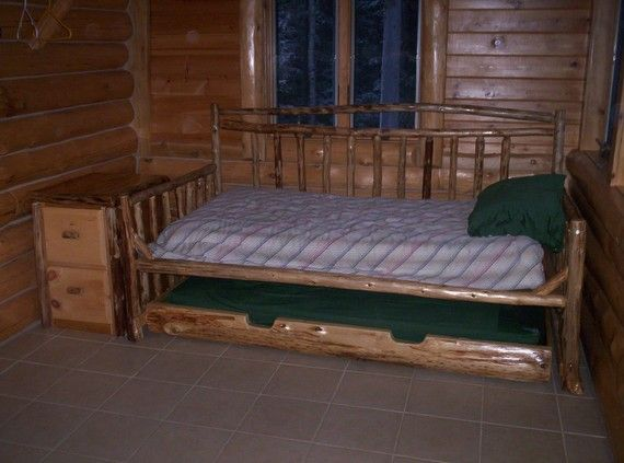 Rustic Cedar Daybed Trundle Bed With Matching by Kingoftheforest, $1125.00 - Rustic Cedar Daybed Trundle Bed With Matching Side Table Storage