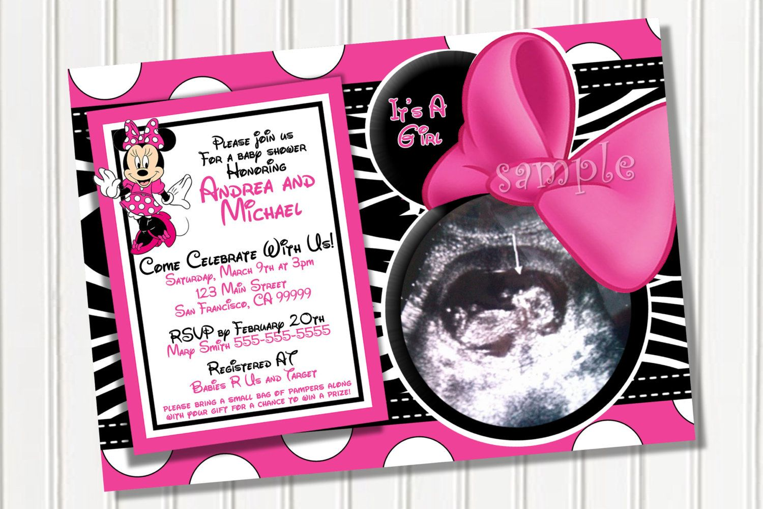 minnie mouse baby shower invitation idea | Baby things ...