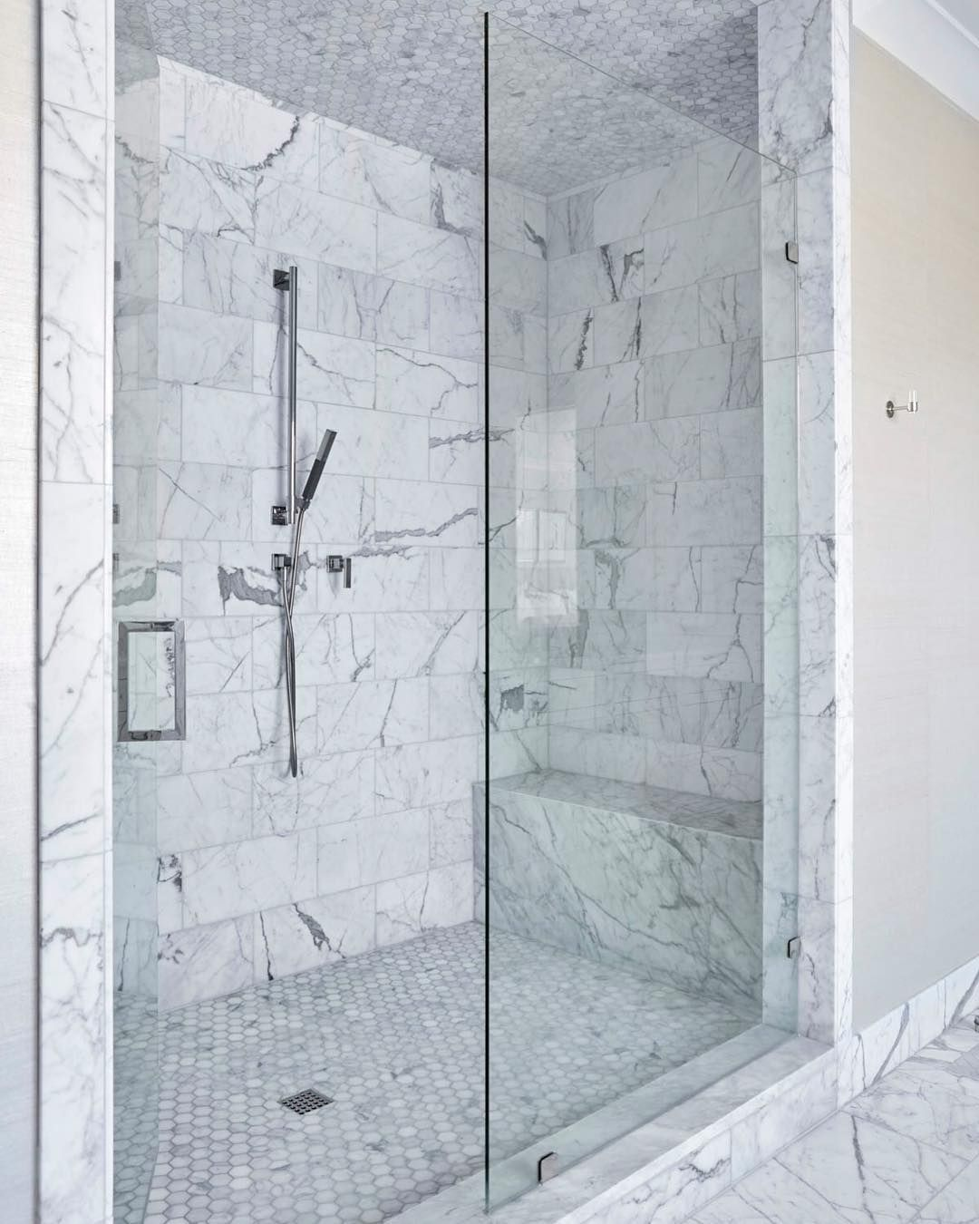 white marble shower | tiled ceiling, walls and floor | bathroom ...