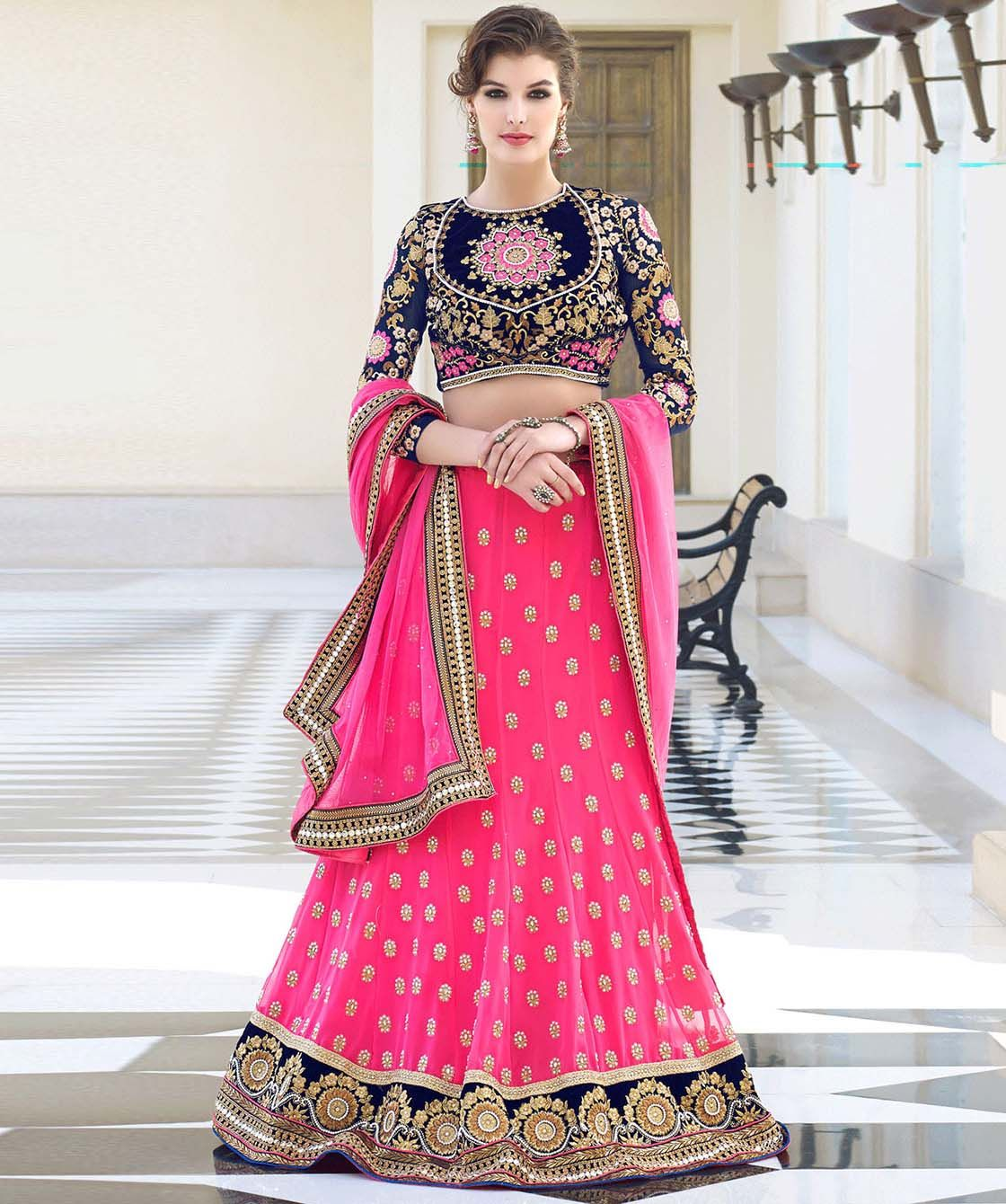 Buy georgette lehenga choli and dupatta online at best price in ...