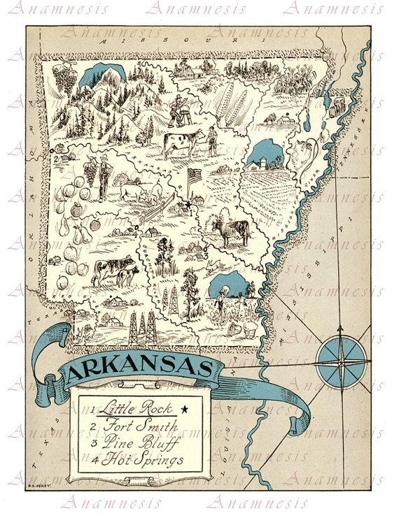 ARKANSAS MAP - Instant Digital Download - printable vintage state