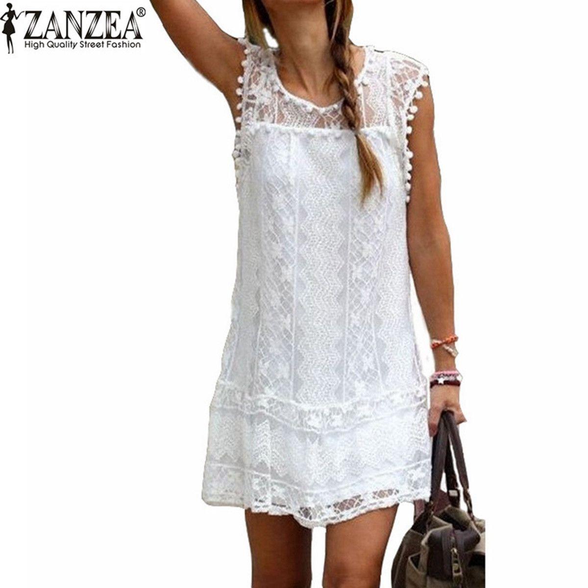 Zanzea vestidos 2017 verano de las mujeres elegantes casual sólido de manga corta delgado encaje mini dress tops sexy ladies white dress plus tamaño