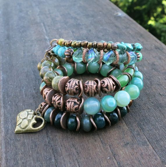 Copper and Green Melody Memory Wire Bracelets by BlooMoonJewelry ...