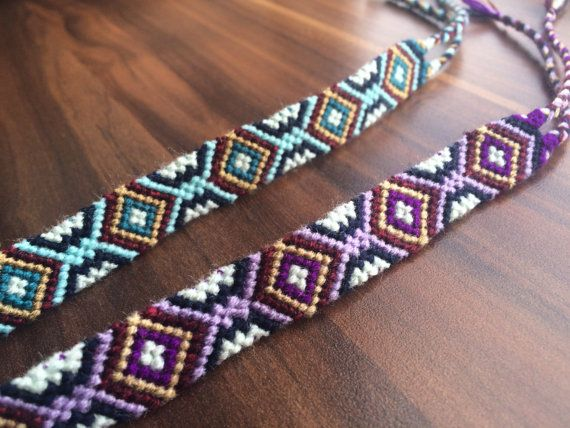 Freundschaft Armband gewebt-Liebe-geknotet-geflochtenes Armband-Hippie-Handmade-Vaters DayGift-Guy-Girl-Him-Her-Pattern-Ornament-Aztec-Purple-Blue #aztec