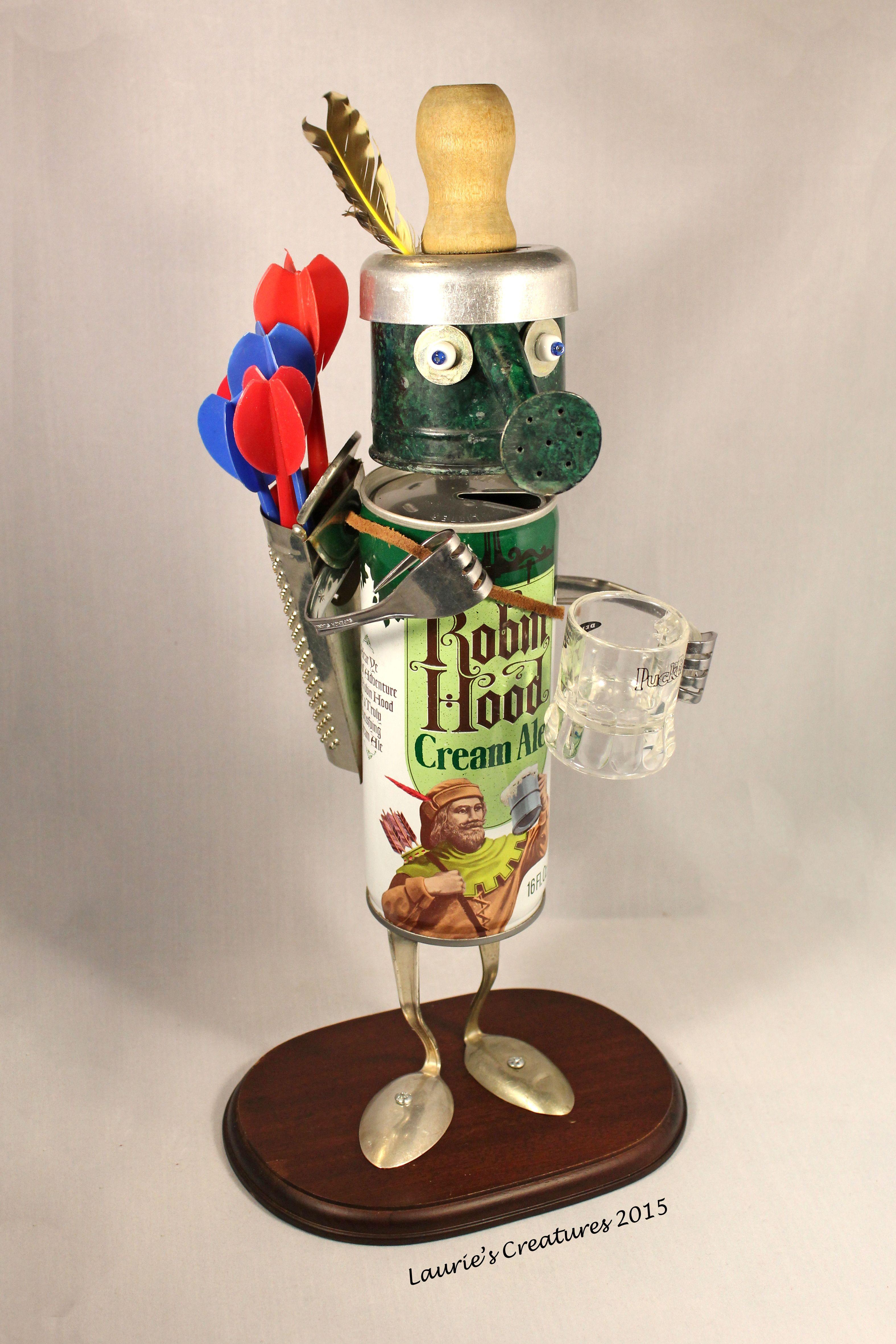 """Robin Hood"" ~ Original found object/junk art created by Laurie Schnurer in 2015."