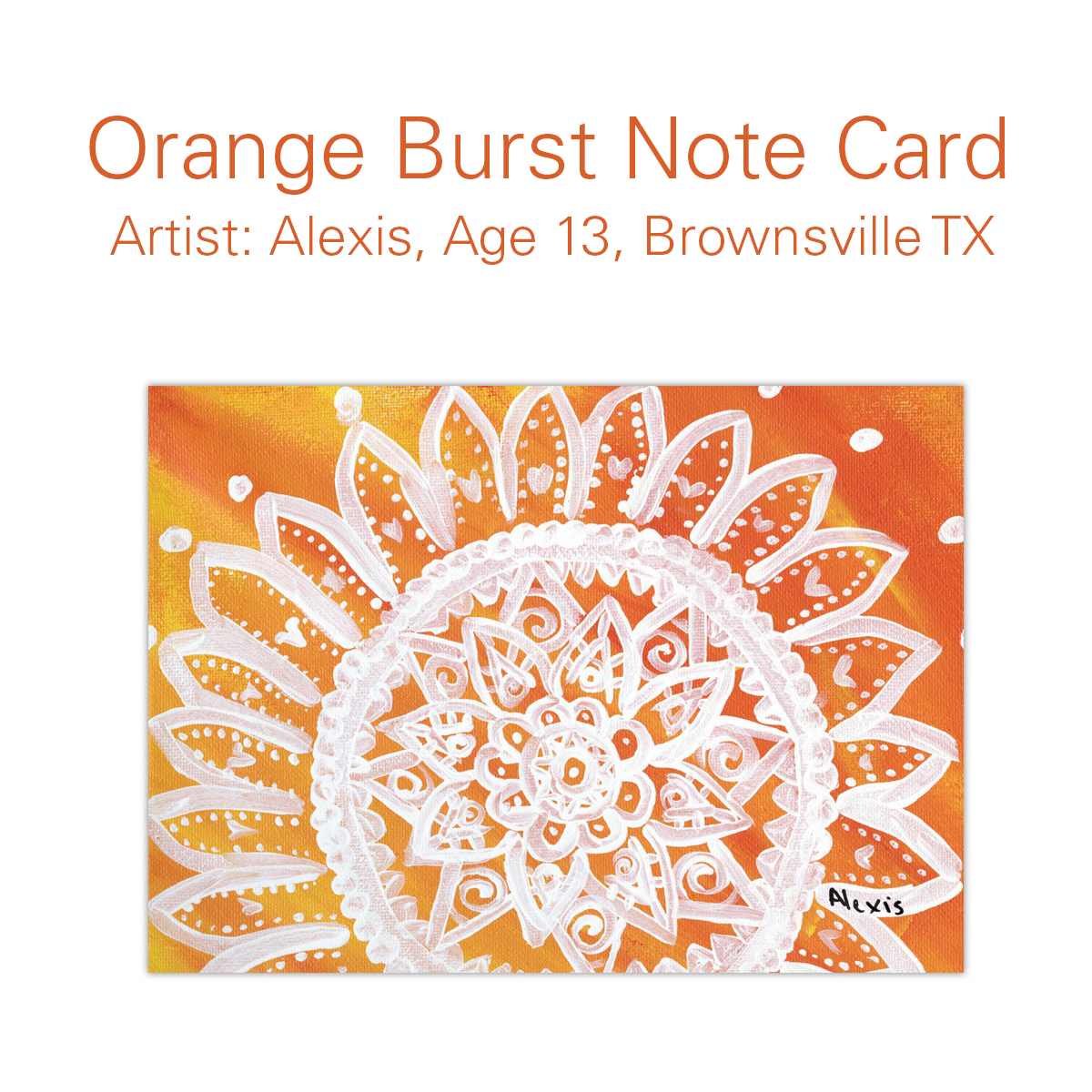 Send a greeting of warmth happiness and energy with our orange send a greeting of warmth happiness and energy with our orange burst note cards designed by alexis age 13 from brownsville the childrens art project kristyandbryce Gallery