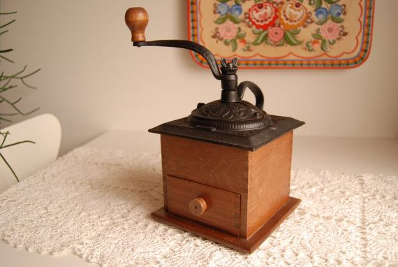 Coffee Mill with Cast Iron Top by birdy91 on Etsy, $48.00
