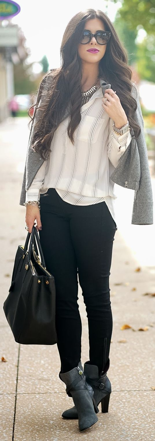 Striped shit,gray blazer,skinny black pants