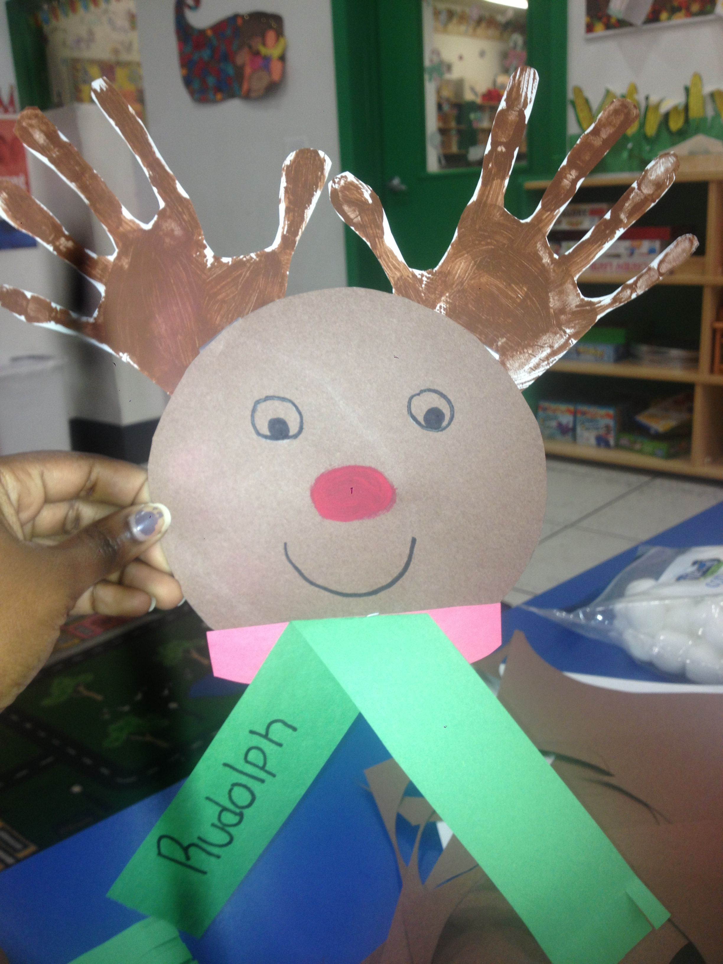 The is a Christmas arts and crafts. You will need brown paper,white paper, green and red paper, red paint or a red market for the nose, you will also need brown paint.