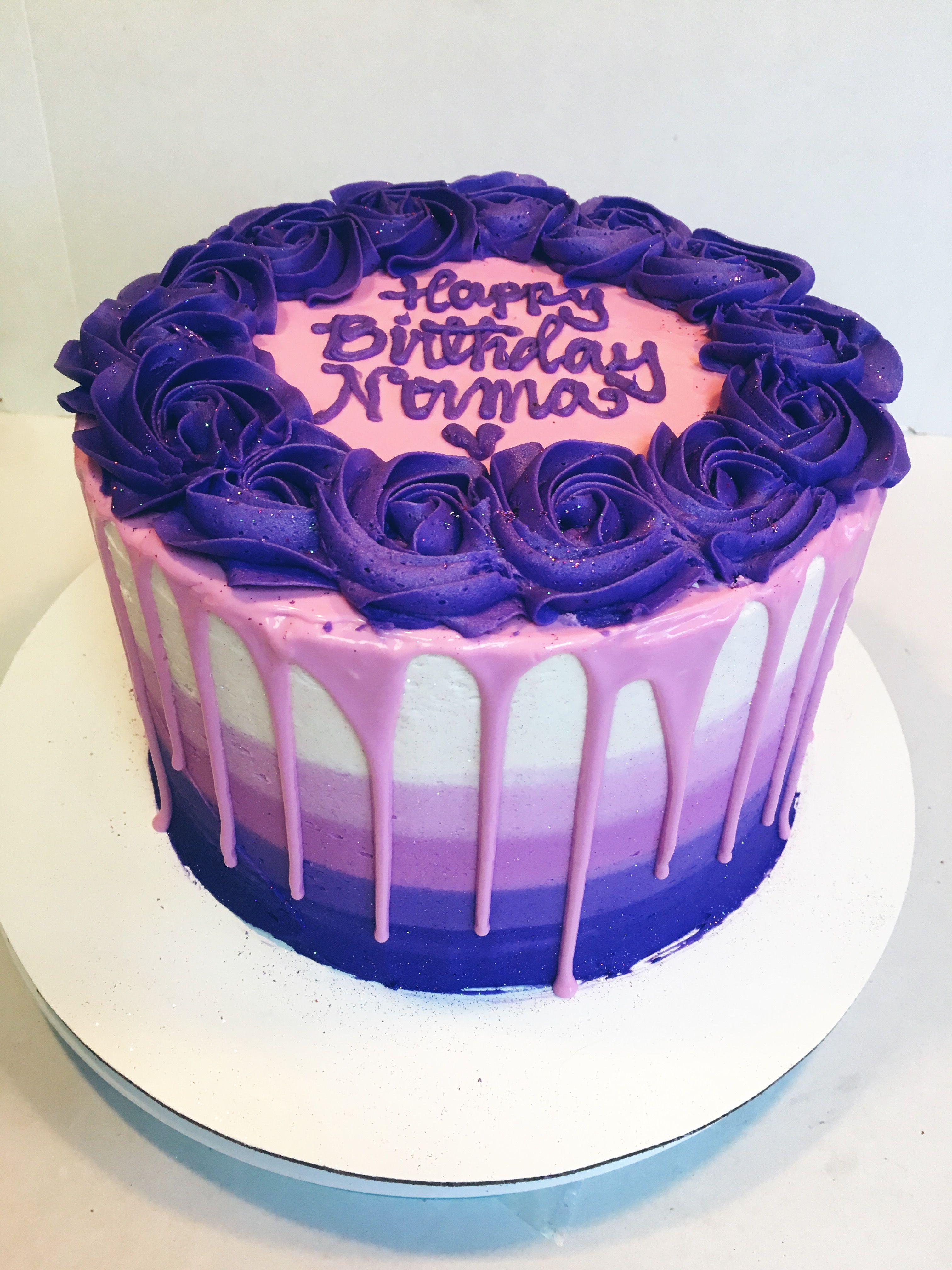 Ombré buttercream purple ganache drip cake #rosettes # ...