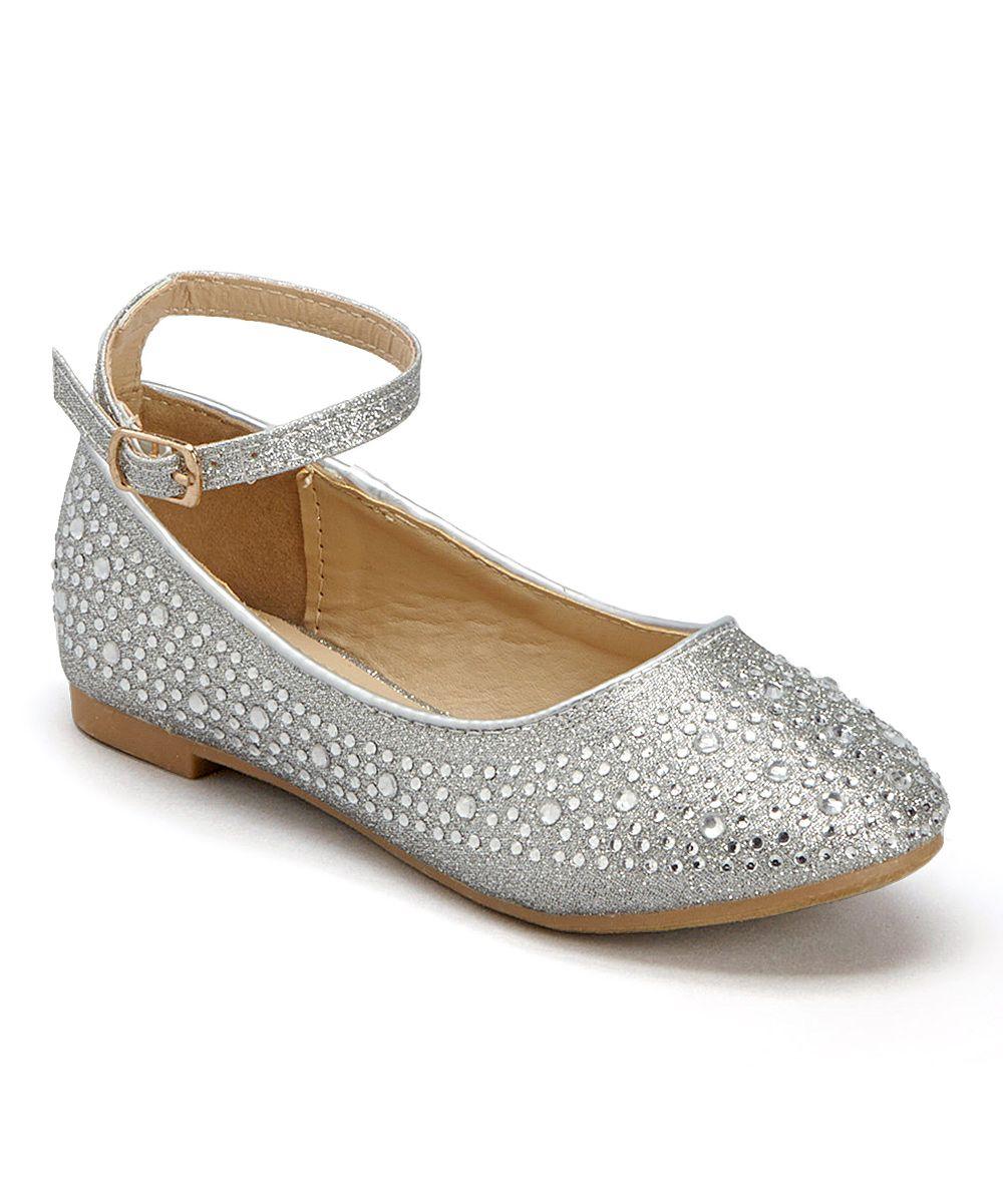 Silver Rhinestone Ankle-Strap Flat