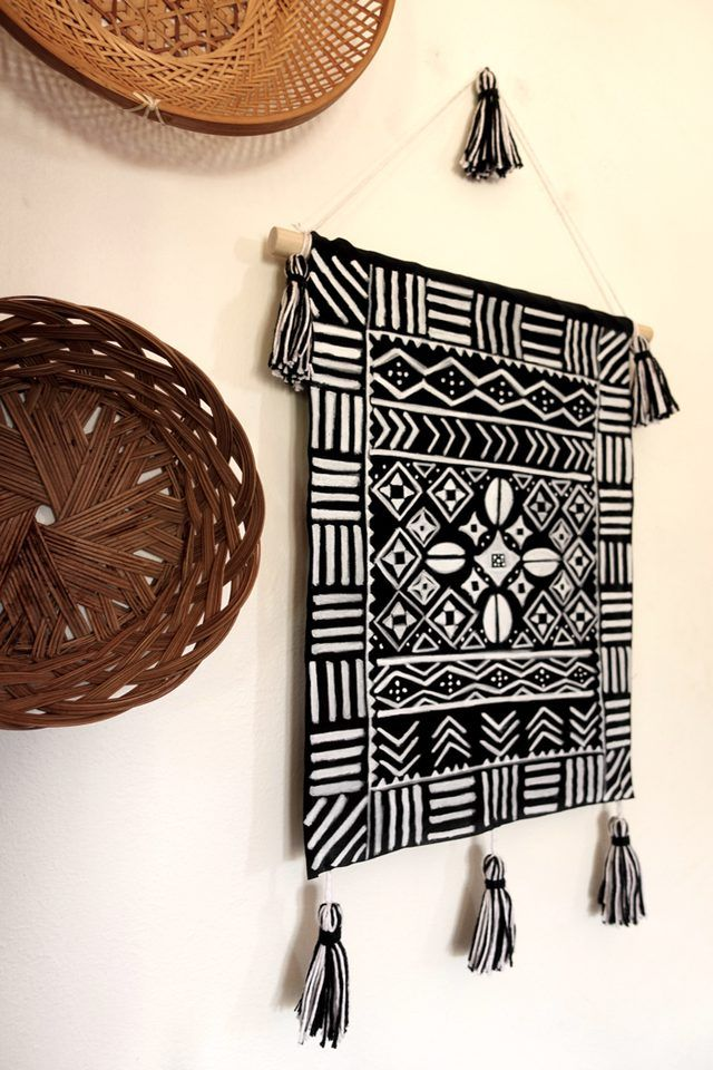 Diy Mudcloth Inspired Wall Hanging Tutorial In 2019