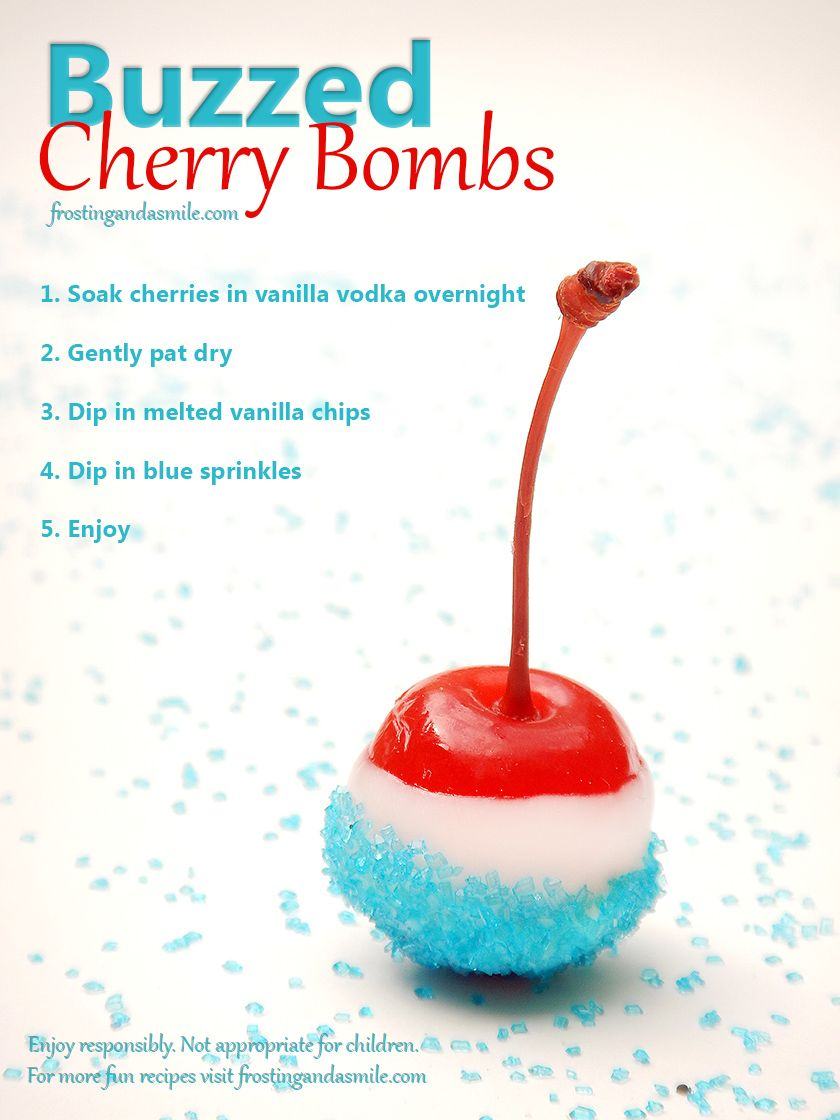 You can make virgin cherry bombs! Instead of alcohol, add a teaspoon or two of vanilla to the jar with the cherries and cherry juice. Let that soak for 12-48 hours. Then dip them in vanilla chips and sprinkles as the recipe instructs. You'll get a nice cherry-vanilla flavor and the fun patriotic look without the buzz. #alcoholicdrinks