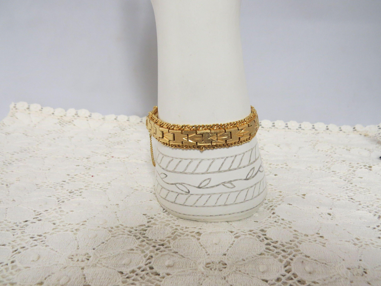 Vintage gold plated bracelet unisex hand engraved textured surface
