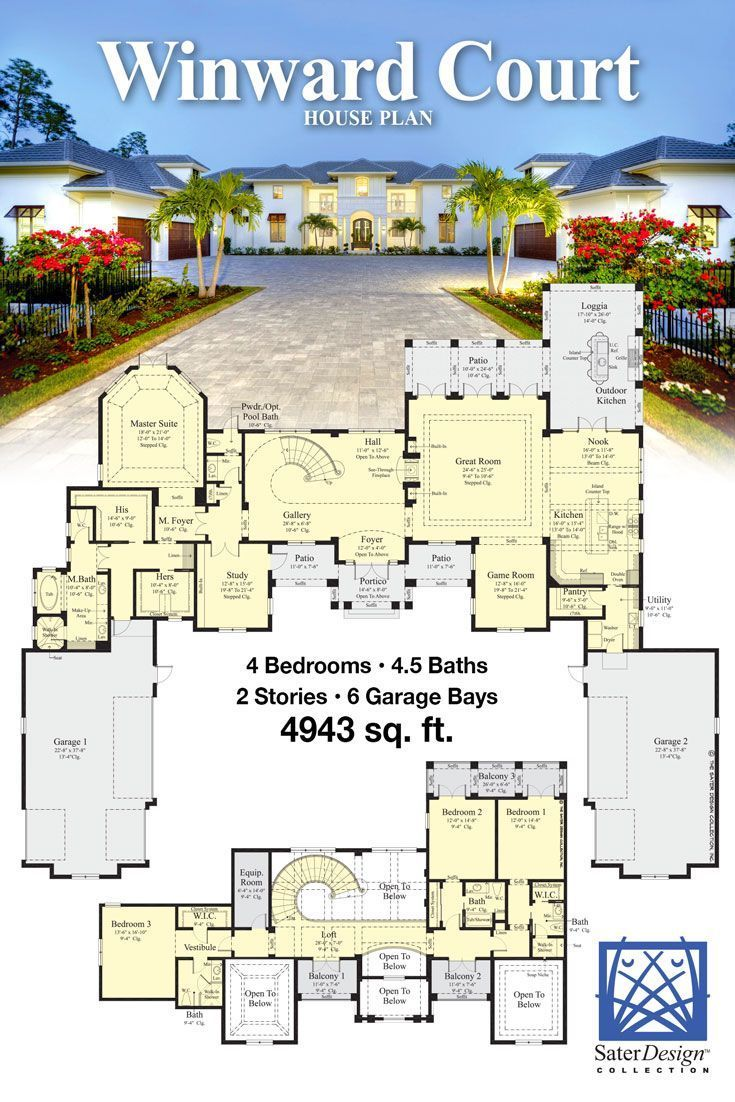 The Winward Court Luxury Home Plan Sater Design Collection In 2020 Luxury House Floor Plans Bungalow Floor Plans House Plans Mansion