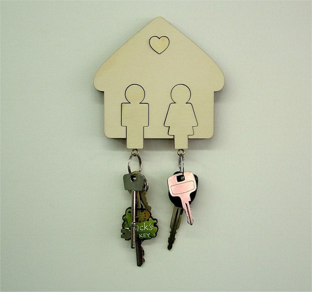 Beautiful His U0026 Hers, Man U0026 Woman, Wall Mounted Wooden Key Holder Wedding Gift / Design Ideas