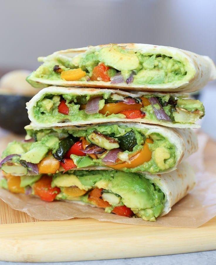 Grilled Vegetable Avocado Quesadillas with Chipotle Cashew Cream (Vegan)  - Wraps -