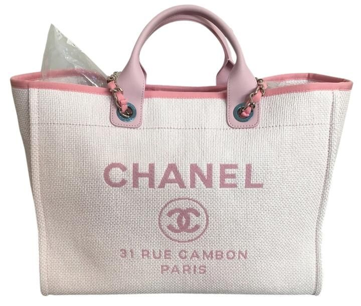 5e07fe0eb3b7aa Chanel Large Deauville With Silver Chain 2016 Pink Tote Bag. Get one of the  hottest styles of the season! The Chanel Large Deauville With Silver Chain  2016 ...