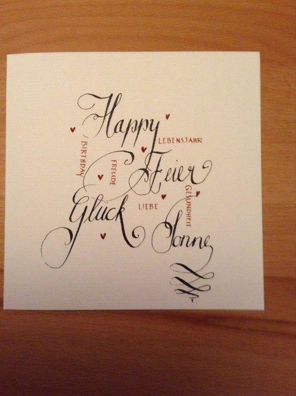 Kartentraum Geburtstagskarte Calligraphy And Fonts Cards