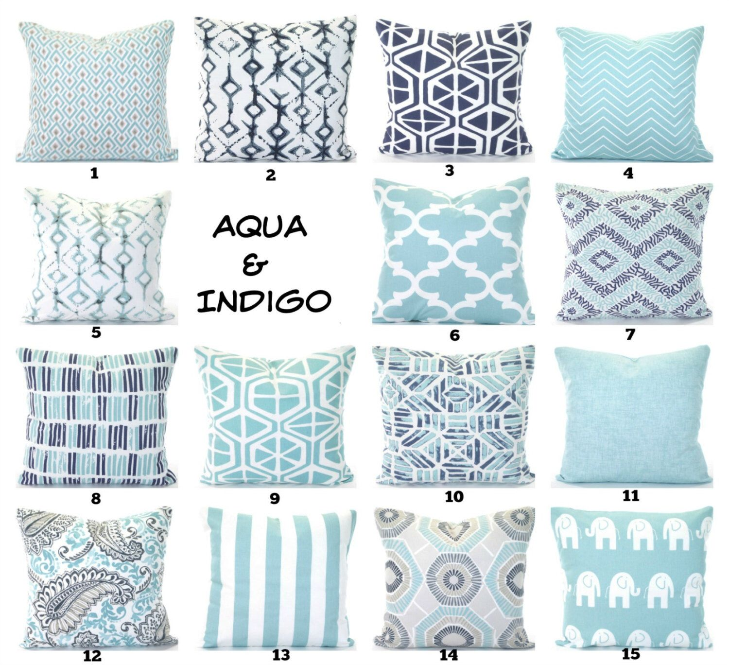 aqua navy pillow covers cushions decorative throw pillows pastel aqua indigo navy taupe white couch bed - Toss Pillows