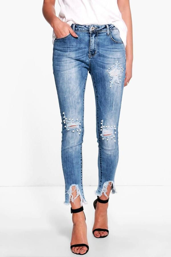eaac412ea49e boohoo Penny Pearl Destroyed Hem Skinny Jeans | Jeans | Jeans ...