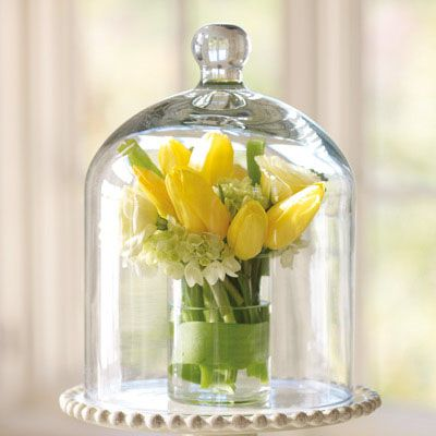 small arrangement of yellow tulips covered with a hand-blown glass dome - beautiful wedding centerpiece!  http://danishaj.store.willowhouse.com/product.aspx?zpid=5582
