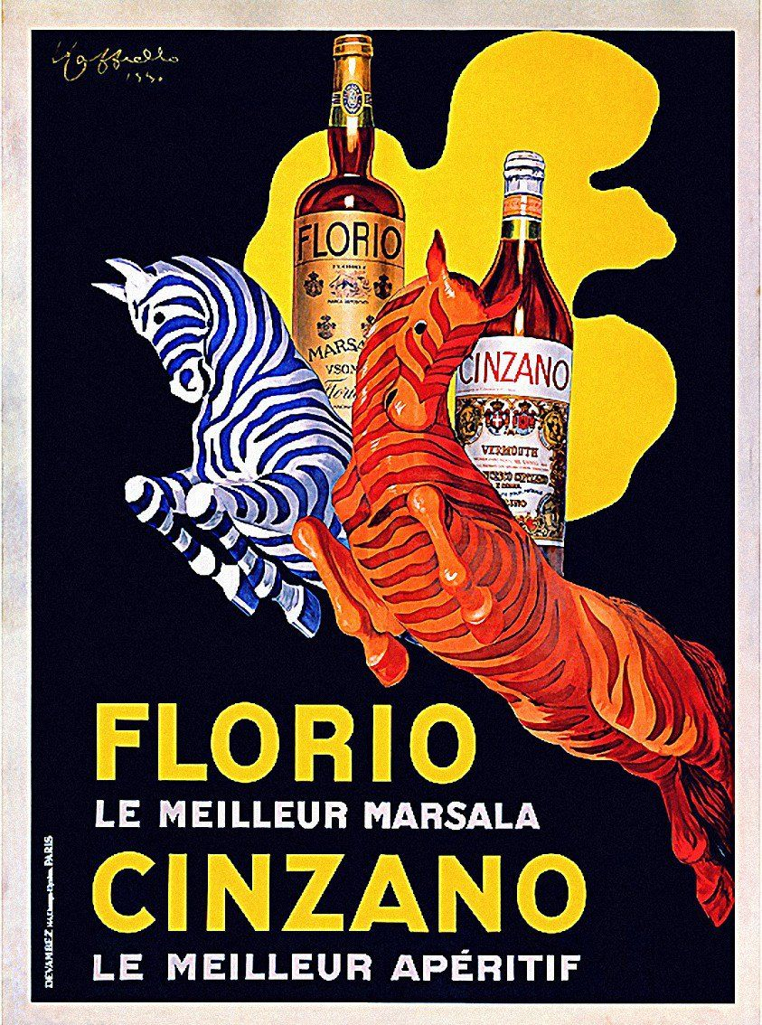 Reproduction Vintage Drinks advert poster Florio Cinzano Wall art.