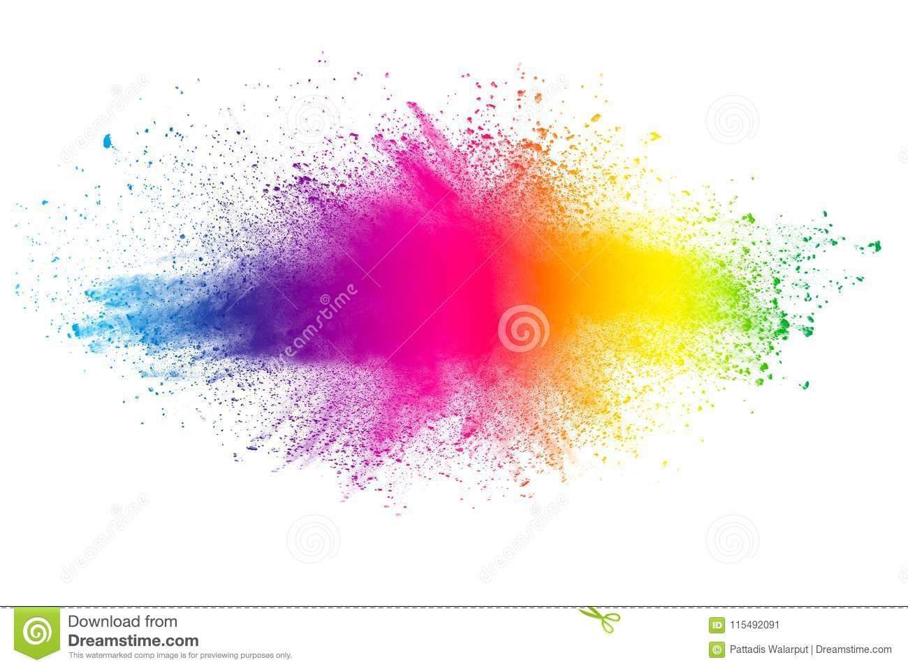 Photo About Abstract Multi Color Powder Explosion On White Background Freeze Motion Of Color Dust Particles Splash Painted H Color Powder Abstract Color Dust