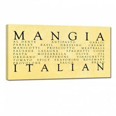 Captivating Great Gift For The Italian Kitchen U2026 Mangia , Ready To Hang Wall Word Art  Home Decor.