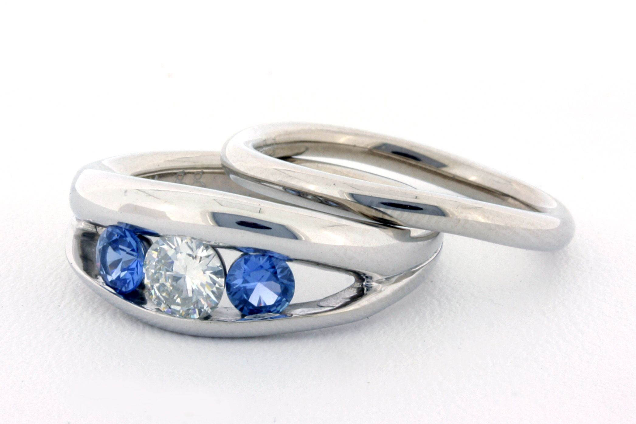 Custom Diamond And Yogo Sapphire Engagement Ring And Wedding Band  The Gem  Gallery