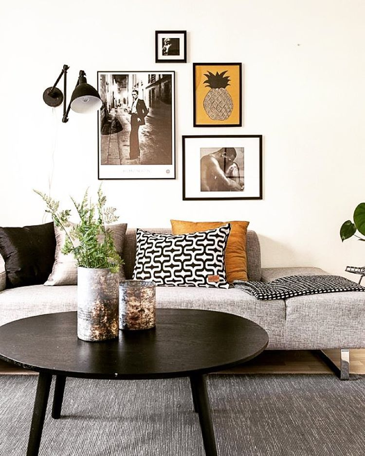 Decor. Pictures On The Wall. Black, Grey And Mustard