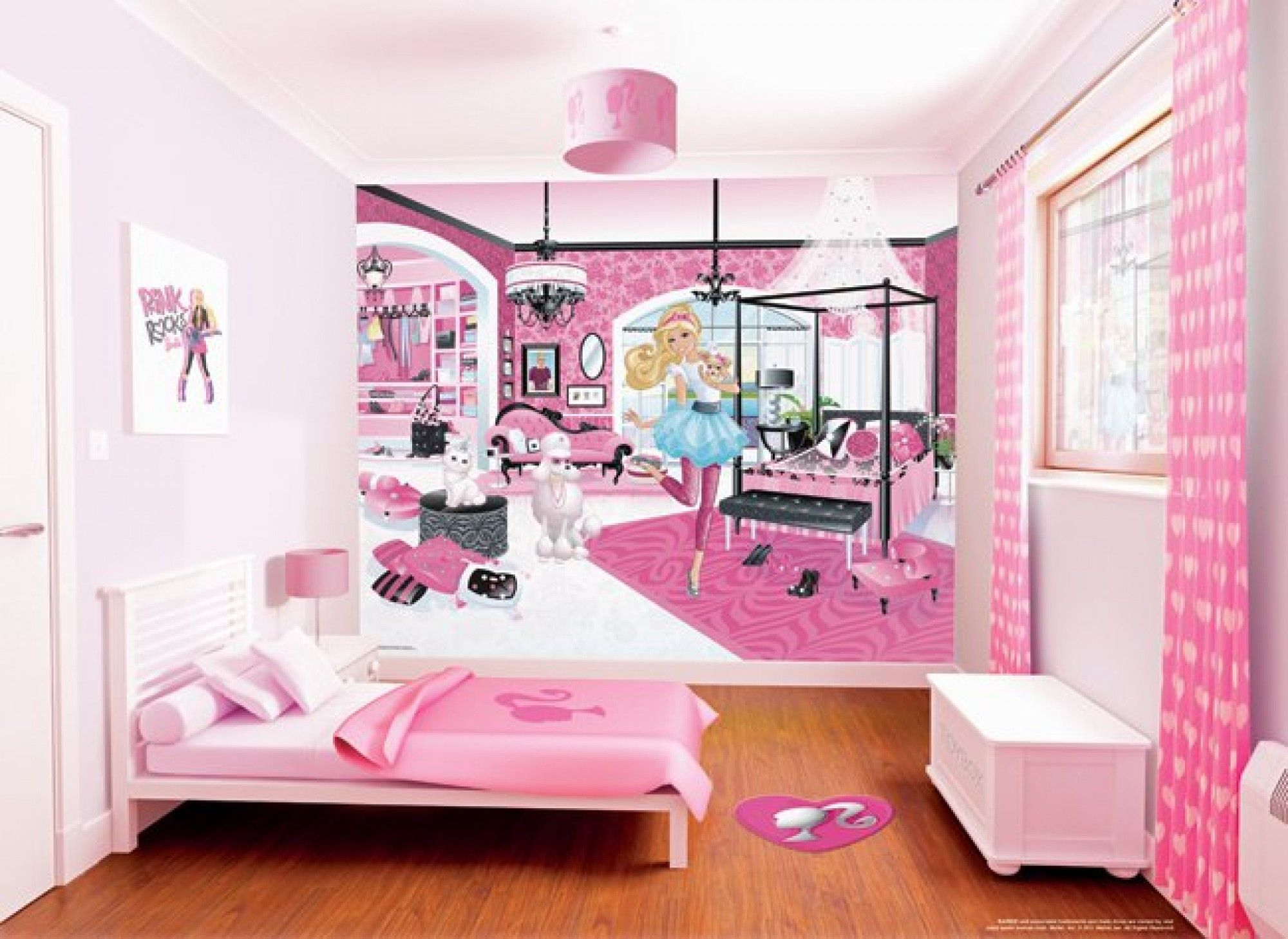 Best Pink Bedding Coupled With Barbie Bedroom On Sleek Wooden Floor Barbie Room Barbie Bedroom 640 x 480