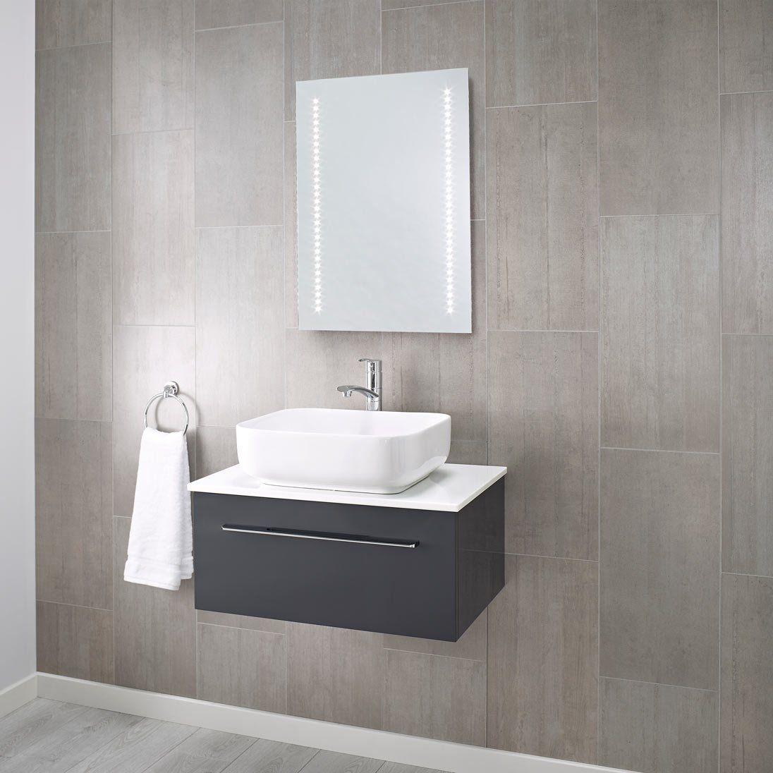 500 X 700 Mm Pebble Grey Tannon Led Illuminated Bathroom Mirror With Infra Red Sensor Grey Bathroom Mirrors Illuminated Bathroom Cabinets Mirror Cabinets