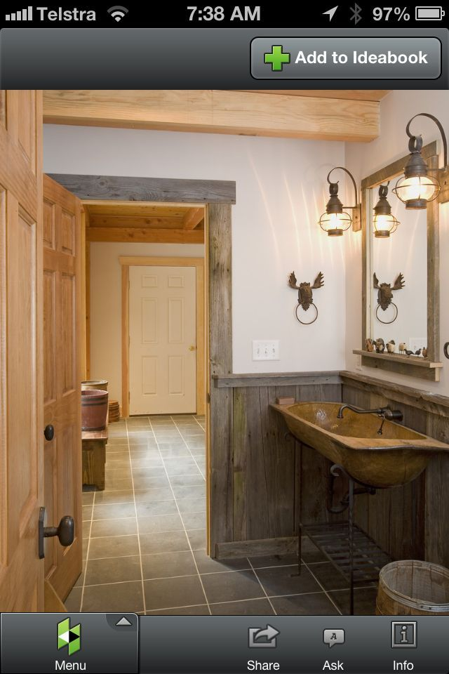 powder room end of utility room. half wall panelling, wood ...