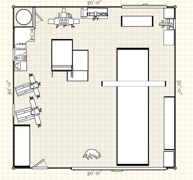 Machine shop layout google search shop organization for Small shop floor plans