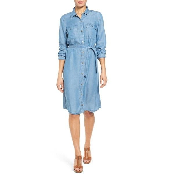 96ef0f68bb MICHAEL Michael Kors Belted Chambray Shirtdress ( 140) ❤ liked on Polyvore  featuring dresses