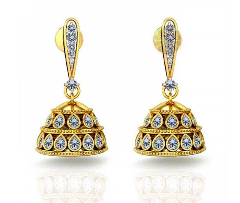 Vogue Crafts Designs Pvt Ltd manufactures Designer Gold Jhumka