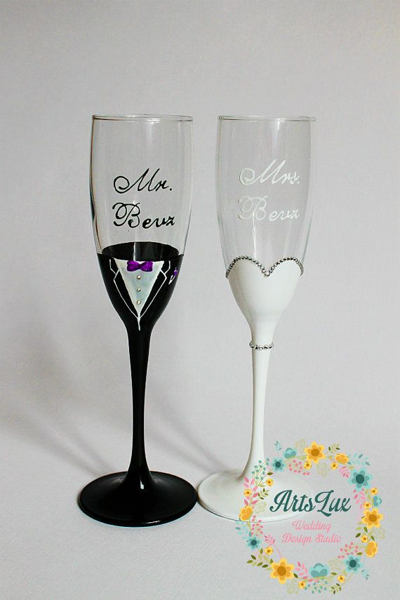Bride And Groom Champagne Wedding Gles Hand Painted Toasting Flutes Personalized Favor Mr Mrs